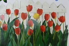 Removeable Wall Sticker / Decal white fence yellow red tulips Butterflies