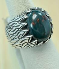 RARE BLOODSTONE MARCH BIRTHSTONE  925 SILVER MENS RING SIZE 10 #r0126 BR710