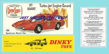 Dinky Toys 103 Captain Scarlet Spectrum Patrol Car Instruction Leaflet & Poster