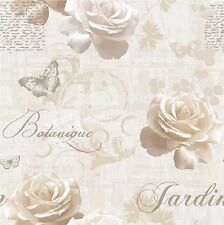 Luxary Muriva Botanical Garden Wallpaper127504 Script Rose Butterfly Cream/Gold