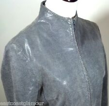 Soft Gray LEATHER Stingray Finish EXPRESS 5 6 Fitted ZipUp JACKET Short Coat S M