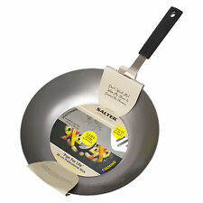 Salter 28cm Professional Carbon Steel Wok Chinese Cooking Stir Fry Dish Oven Pan