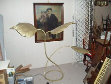 1970 TOMMASO BARBI  Italian 3 Leaf FLOOR LAMP Hollywood Regency BRASS SCULPTURE