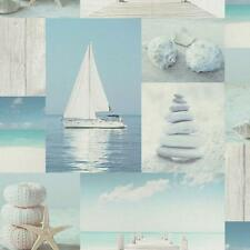 ARTHOUSE COASTAL COLLAGE PATTERN SEASIDE SHELL BOAT PHOTO WALLPAPER 889602