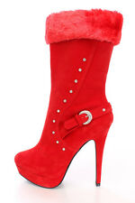 Red Fur Cuff Rhinestone Buckle Sexy Stiletto Heel Mid Calf Boots, US Size 7