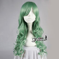 70CM Lolita Green Long Curly Party Women Hair Cosplay Wig Heat Resistant+Wig Cap