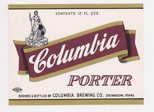Columbia Porter Beer Label