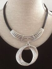 Stunning Lagenlook/Tribal Style Stacked Circle Necklace On Black Leather NWT