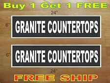 "White on Black GRANITE COUNTERTOPS 6""x24"" REAL ESTATE RIDER SIGNS Buy 1 Get 1"