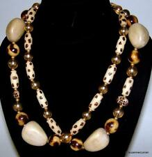 "JOAN RIVERS Goldtone Spotted Leopard Cheetah Wood Bead Necklace 36"" & Extender"