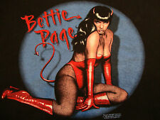 Bettie Page Model Girl Queen of Pin Up Girls Hot Sexy Devil Black Large T-Shirt