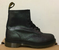DR. Martens 1460 BLACK CRACKLE in Pelle E Pelle Scamosciata Stivali Taglia UK 9