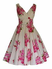 Summer Vintage Pink Rose Floral Bridesmaid Cotton Party Prom Tea Dress BNWT 14