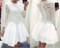 Women Ladies Vintage Lace Long Sleeve Evening Formal Cocktail Party Mini Dress