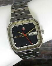 Vintage Rado Silver & Black Square Faced Watch W Metal Band