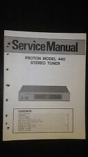 Proton model 440 service manual repair book original stereo tuner radio