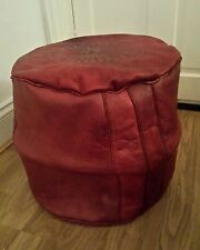 Bordeaux Genuine Leather Moroccan Pouffe Footstool 100% real leather New Poufe