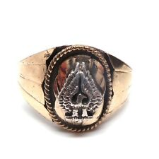 Navajo Sterling Silver & Gold Filled Overlay Eagle Ring Size 5 -S.Ray