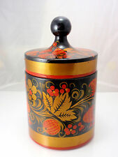 Russian Hand Painted Khokhloma Red and Gold Strawberry Wooden Food Container