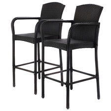 2 PCS Rattan Wicker Bar Stool Dining High Counter Chair Patio Furniture Arm