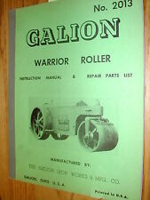 Galion WARRIOR ROLLER PARTS MANUAL BOOK CATALOG OPERATION & MAINTENANCE No. 2013