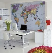 WORLD MAP Wall Mural Photo Wallpaper - FREE PASTE - 270x188cm large office decor
