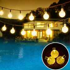 Solar Globe String Lights Outdoor 19.7 ft 30 LED Warm White Crystal Ball Christ