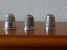 3 Gorgeous Hallmarked Sterling Silver Thimbles with 2 Chester Silver