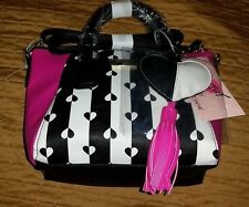 Betsey Johnson Black & White Striped w/Pink- Black & White Heart Charm Crossbody