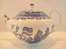 PRETTY ENGLISH BLUE WILLOW STAFFORDSHIRE TEAPOT BLUE AND WHITE CHINA TEAPOT NICE