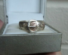 Vintage Attractive Silver / Silver Gilt Buckle Ring  - size P