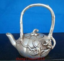 Antique Collectible Handmade Carving Copper silver Teapot Japan