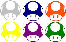 "Bundle (6) 3"" Mushroom Toads Vinyl Decal Sticker Mario Bros. Nes Nintendo"