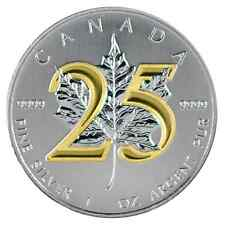 2013 1 Oz Ounce Silver 25th Anniversary Maple Leaf Coin 9999 Gold Gilded 25