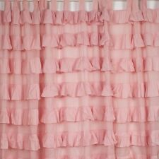 French Shabby Chic Curtains Ruffled Pink Girls Room Tab Top 110 x 220cm
