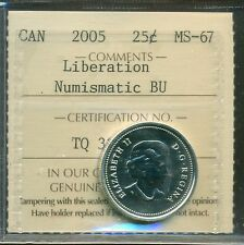 """2005 Canada Silver 25-cents """"Liberation"""" Certified ICCS MS-67 NBU"""