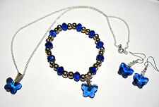 'AAA' GRADE BLUE CRYSTAL GLASS BUTTERFLY NECKLACE EARRINGS & BRACELET SET