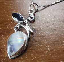 Genuine Faceted Iolite and Rainbow Moonstone Necklace 925 Sterling Silver 634a