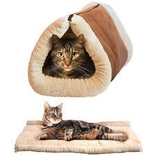 Pet Cat Bed Tunnel Fleece Tube Cushion 2 in 1 Mat Pad For Dog Kennel Crate House