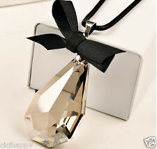 X large crystal water drop pendant black bow long chain necklace UK Seller