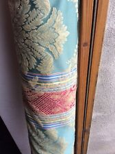10m Textured Green Red Blue Gold Damask Stripe Fabric Curtains FREE POSTAGE