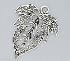 5 Silver Tone Leaf Charms Pendants 56x72mm