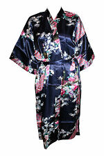 Lingerie Rich Navy Blue Floral Satin Kimono/Babydoll/Negligee/Robe & Belt 8-12