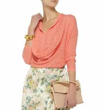 NWT ALICE + OLIVIA WOMEN SzL MORGAN POINTELLE-KNIT DOLMAN TOP PEACH MELBA $297.