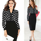 1PC Women Ladies V-Neck Long Sleeve Polka Dot Slim Hip Bodycon OL Pencil Dress