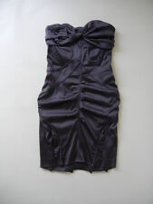 Gucci (Ita40) Yr2005 Steel-Satin Ruched/Quilted Strapless Bodycon Stretch Dress
