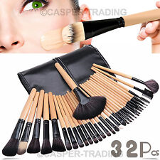 32 Pcs Kabuki Make Up Makeup Brush Professional Wood Cosmetic Brushes Set +Case