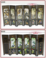 6 Pieces Double sided Panda Folding Screen Home Decor Chinese Lacquerwork Screen