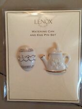 Beautiful Lenox Fine Ivory China w/ 24 karat gold Watering Can and Egg Pin Set