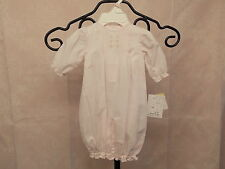 Petit Ami Preemie Girls Hand Embroidered Batiste Pink Convertible Gown w/Bonnet